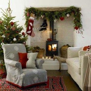 decoracion navidad estufa